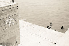 Ganga rive in Benares India. Benaras is full of life. Ganga is a holly river. People are taking bath Stock Photos