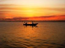 The Ganga river. Sunrize ture on the Ganga river, Varanasi, India Stock Image