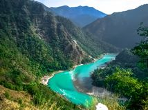 Ganga river blue water himalayas rishikesh stock photos
