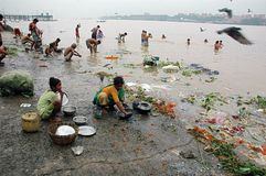 Ganga River Pollution In Kolkata. Stock Photo