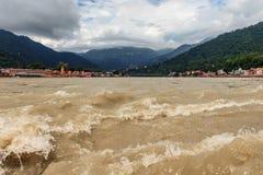 Ganga river in Rishikesh town at the footprint of. stock image