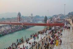 Ganga rzeka przy Haridwar, India Obrazy Royalty Free