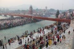 Ganga rzeka przy Haridwar, India Zdjęcia Royalty Free