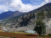 Gangapurna Lake and Annapurna from Manang, Nepal Stock Photo