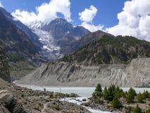 Gangapurna Lake and Gangapurna peak from Manang, Nepal Royalty Free Stock Photo