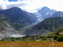 Gangapurna Lake and Gangapurna peak from Manang, Nepal Royalty Free Stock Images