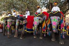 Gangaur Festival-Jaipur people riding elephants Stock Photo