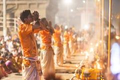 Ganges Aarti ceremony, Varanasi Royalty Free Stock Photo