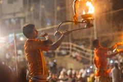 Ganges Aarti ceremony, Varanasi Stock Images