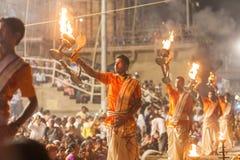 Ganges Aarti ceremony, Varanasi Stock Photography