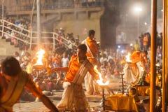 Ganges Aarti ceremony, Varanasi Stock Photos