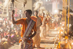 Ganges Aarti ceremony, Varanasi Royalty Free Stock Photography