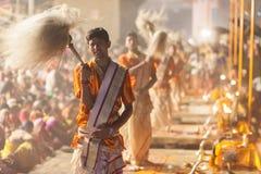 Ganges Aarti ceremony, Varanasi Royalty Free Stock Image