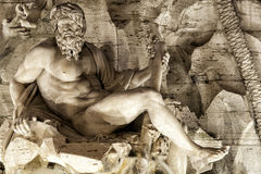 Ganges Fontana dei Quattro Fiumi navonapiazza rome italy royaltyfria bilder