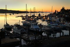 Ganges Harbor, Salt Spring Island Twilight Dawn Royalty Free Stock Photography