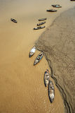 Ganges River. A top angel view of fishing boats at the Ganges river in Benaras stock image