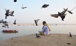 Ganges River. February 11,2012 Benaras,Uttar Pradesh,India,Asia-A horizontal view of Ganges river at Varanasi royalty free stock photo