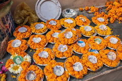 Ganges river candles. Prepeared for night holy ritual at Varanasi, India royalty free stock image