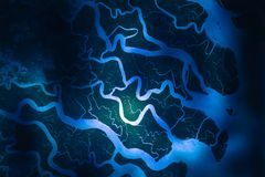 Ganges River delta. Satellite view. Elements of this image furnished by NASA stock image