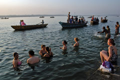 Ganges River. At the early morning pilgrims bathing in the river Ganges at Varanasi,India Stock Photos