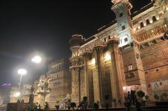 Ganges river ghat Varanasi India. Historical architecture Brijrama Palace at Darbhanga Ghat in Varanasi India Stock Photo