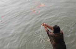 Ganges river ghat Varanasi India. Indian woman bathes in Ganges river Varanasi India Royalty Free Stock Photos