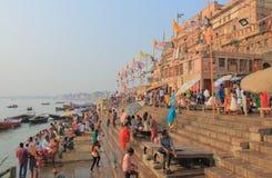 Ganges river ghat Varanasi India. People pray in Ganges river ghat in Varanasi India Stock Photos