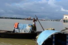 Ganges River i Kolkata Arkivfoto