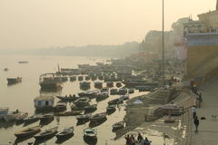 Ganges River i Varanasi Fotografering för Bildbyråer