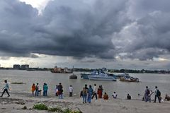 Ganges River In Kolkata. River Ganges (Hooghly)during the rainy season in Kolkata (Calcutta), West Bengal, India. The 2,510 km Ganges river rises in the western Stock Photo