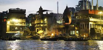 Ganges river at night stock photo