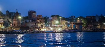 Ganges river at night. ,Holy City of India royalty free stock photography