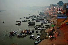 Ganges River offerings Ceremony, Varanasi India Royalty Free Stock Photos