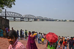 Ganges River. People gathering for holy bath at the Ganges river ghat near Kolkata Royalty Free Stock Image
