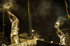 Ganges River Puja Ceremony, Varanasi India Royalty Free Stock Photo