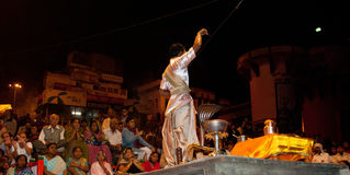 Ganges River Puja Ceremony, Varanasi India Royalty Free Stock Images