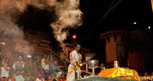 Ganges River Puja Ceremony, Varanasi India Royalty Free Stock Photos