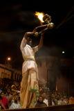 Ganges River Puja Ceremony, Varanasi India Stock Image