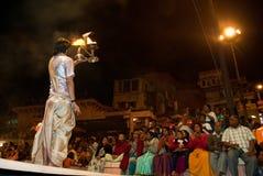 Ganges River Puja Ceremony, Varanasi India Stock Images