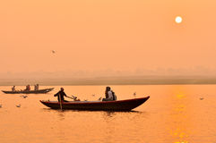 The Ganges river at sunset,India Royalty Free Stock Photo