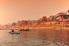 The Ganges river at sunset,India royalty free stock images