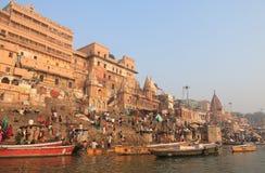 Ganges rzeczny ghat Varanasi India Fotografia Stock