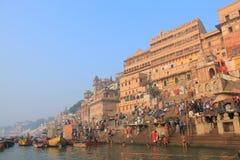 Ganges rzeczny ghat Varanasi India Fotografia Royalty Free