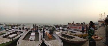 Ganges rzeka przy półmrokiem Fotografia Royalty Free