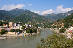 Ganges rzeka, Rishikesh, India. Zdjęcia Royalty Free