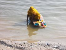 Ganges Scenes in the holy city of Varanasi in India Stock Images