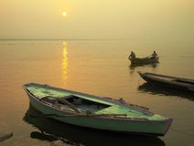 Ganges Sunrise / Varanasi. In India with Boats in the Morning stock photo