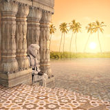 Ganges in the sunset. Holy man in a hindu temple in the sunset Royalty Free Stock Photo