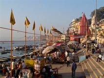 Gangesen på Varanasi Arkivfoton