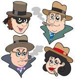 Gangester faces collection Stock Images